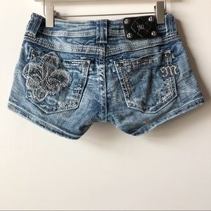 MissMe Jeweled Embellished Jean Shorts